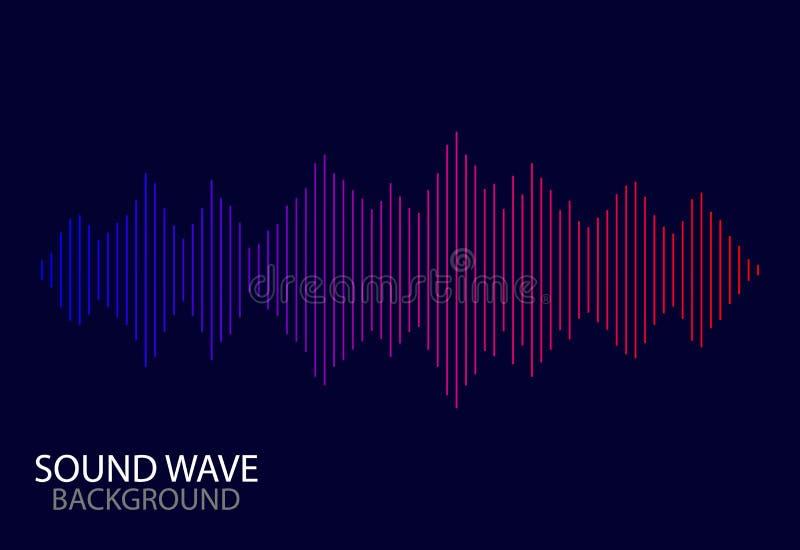Fundo abstrato do espectro do soundwave linha audio do vetor de música Onda sadia abstrata de Digitas com inclinação no fundo azu ilustração stock