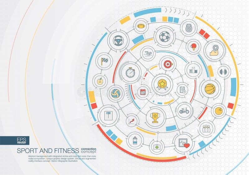 Fundo abstrato do esporte e da aptidão Digitas conectam o sistema com os círculos integrados, ícones lisos da cor ilustração royalty free