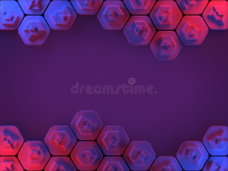 Fundo abstrato do favo de mel do hexágono em vermelho e em azul ilustração royalty free