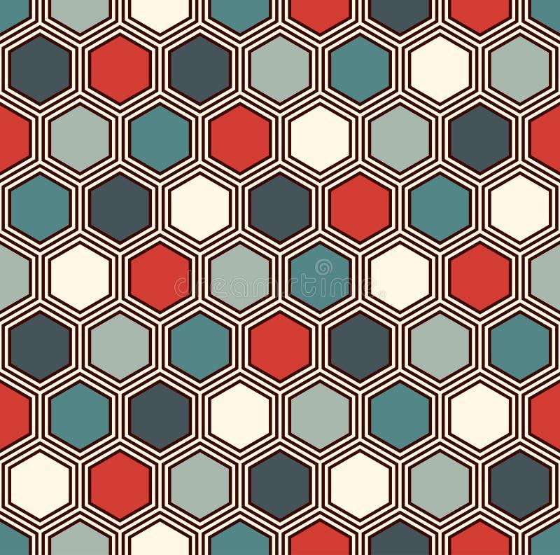 Fundo abstrato do favo de mel O hexágono vívido das cores telha o papel de parede do mosaico Teste padrão sem emenda com ornament ilustração royalty free