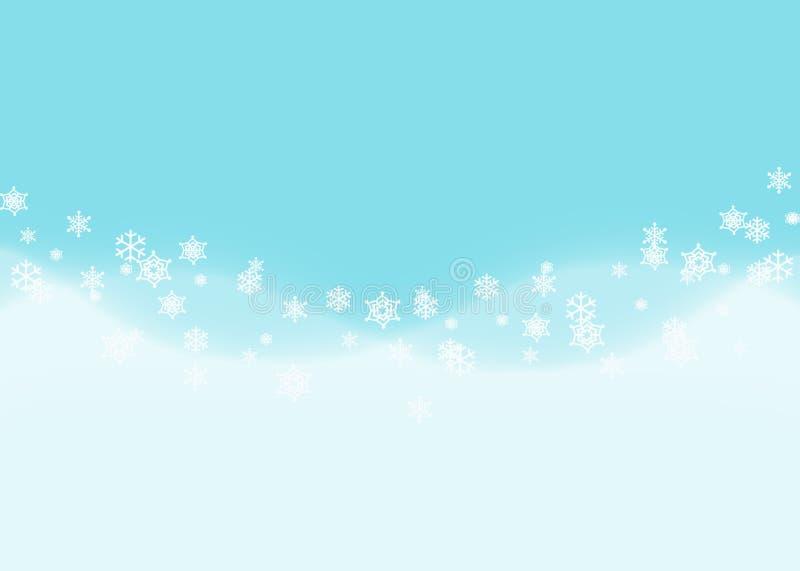 Fundo abstrato do floco de neve com a onda de tração azul da neve ilustração royalty free