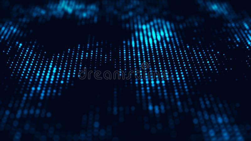 Fundo abstrato do fluxo da tecnologia Fundo futurista dos pontos com uma onda din?mica rendi??o 3d ilustração do vetor