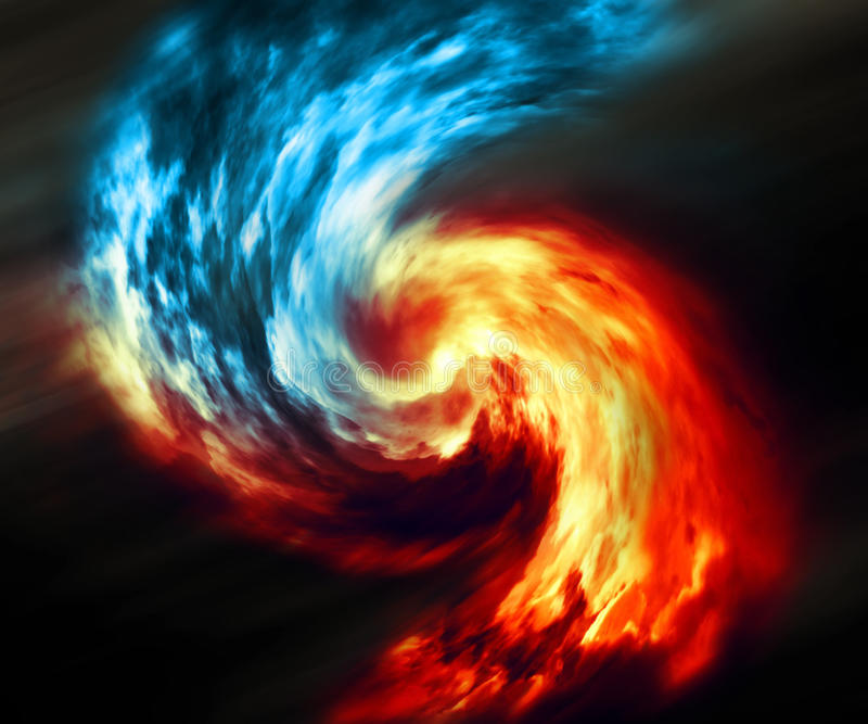 Fundo abstrato do fogo e do gelo Redemoinho vermelho e azul do fumo no fundo escuro foto de stock