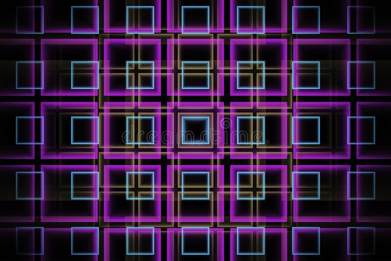 Fundo abstrato do fractal da tecnologia com quadrados verdes violetas e de néon ilustração stock