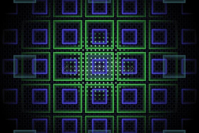 Fundo abstrato do fractal da tecnologia com verde violeta e do néon ilustração stock
