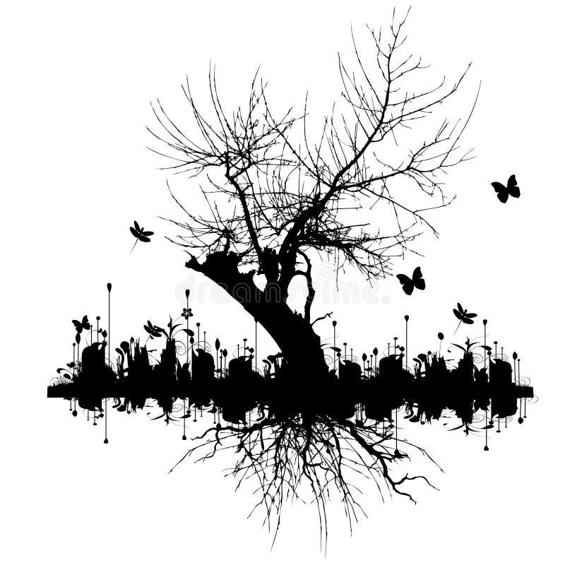 Fundo abstrato do grunge da árvore ilustração do vetor