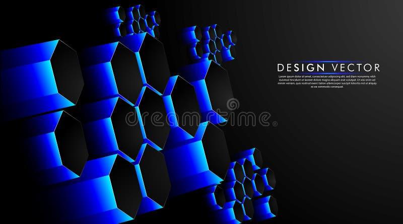 Fundo Abstrato do Hexágono da Tecnologia Hi-Tech Fúturística Ilustração vetorial de criação de um 3d ilustração do vetor