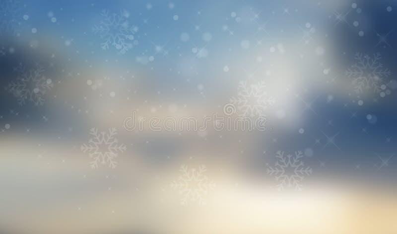 Fundo abstrato do inverno com flocos de neve e estrelas fotografia de stock royalty free