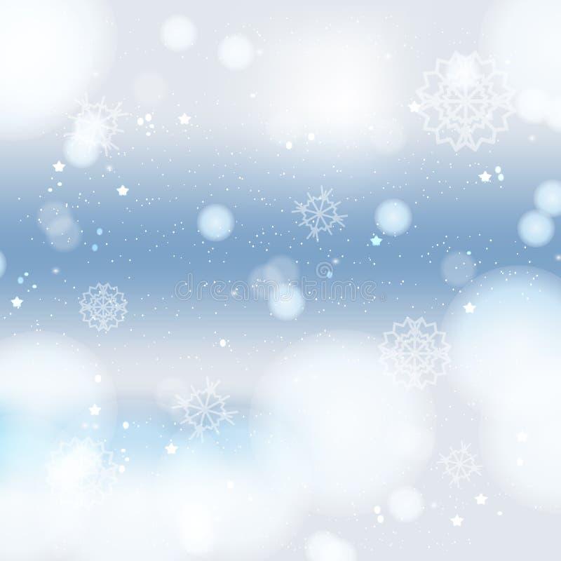 Fundo abstrato do inverno dos christmass com flocos de neve ilustração stock