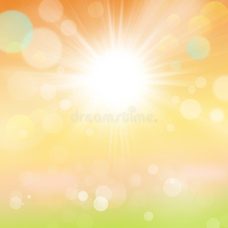 Fundo abstrato do jardim da natureza do verão com raios e Bokeh de Sun ilustração royalty free