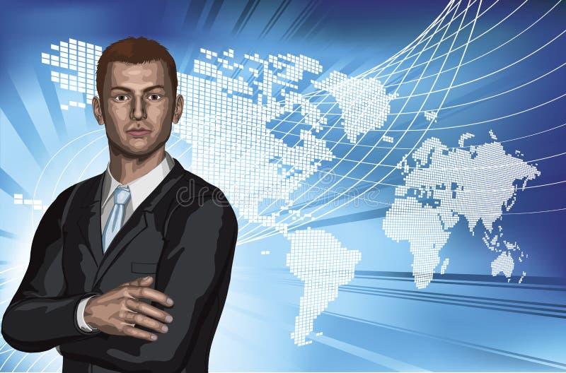 Fundo abstrato do mapa de mundo do homem de negócios ilustração royalty free