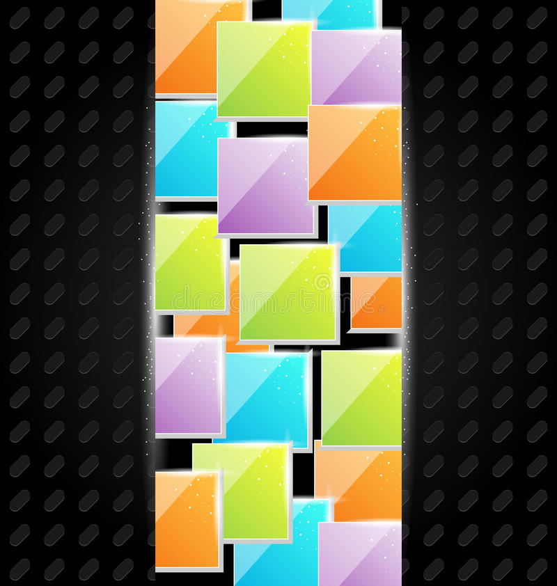 Fundo abstrato do metal com quadrados coloridos ilustração royalty free