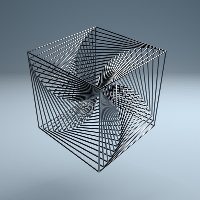 Fundo abstrato do metal do logotipo do cubo 3d do fio da tecnologia ilustração royalty free