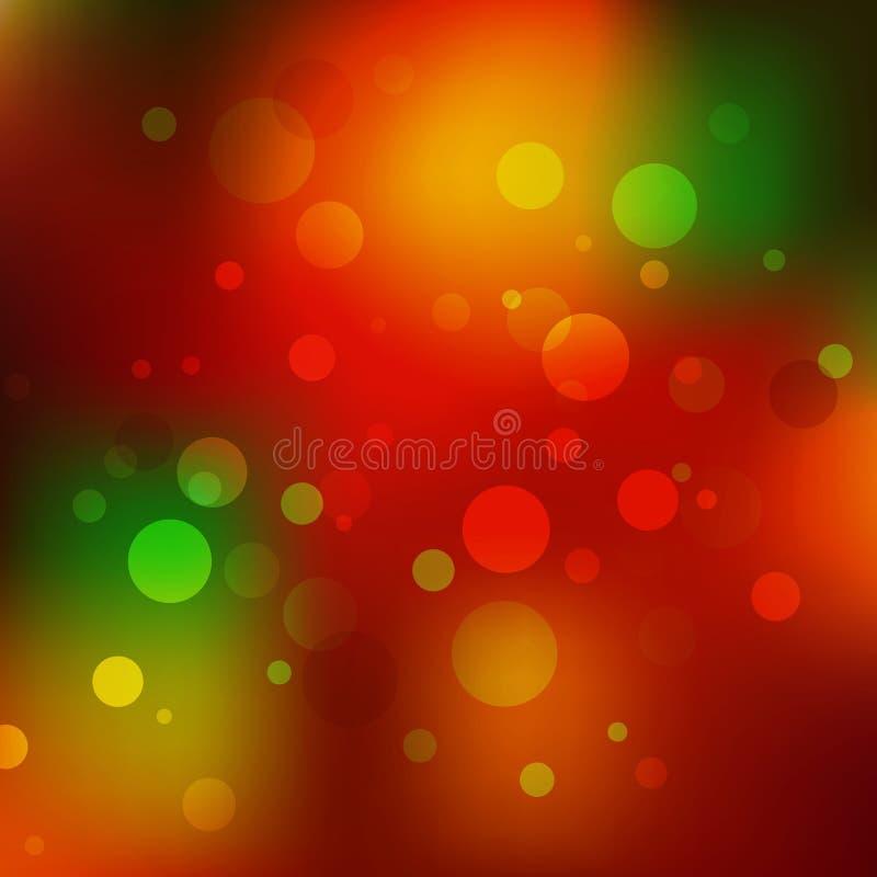Fundo abstrato do Natal Bokeh vermelho, alaranjado e verde do feriado Fundo efervescente mágico do brilho do sumário do feriado ilustração do vetor