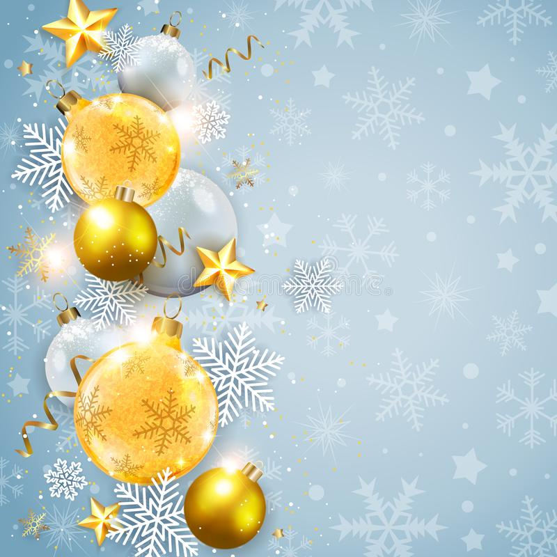 Fundo abstrato do Natal com decorações douradas ilustração do vetor