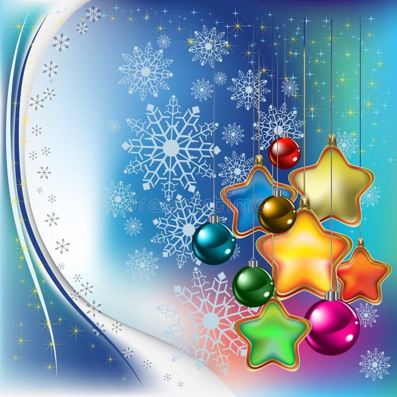 Fundo abstrato do Natal com estrelas e esferas ilustração do vetor