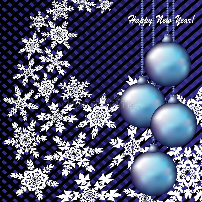 Fundo abstrato do Natal com flocos de neve e brinquedos do Natal ilustração stock