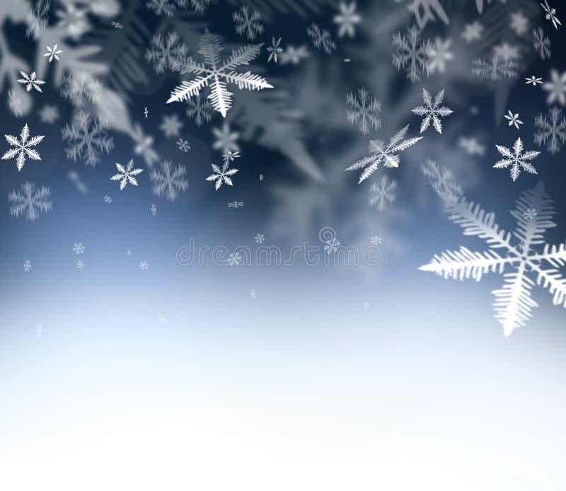 Fundo abstrato do Natal Flocos de neve de queda no céu abstrato azul Espaço livre para seus desejos do Natal e do ano novo - feli ilustração royalty free