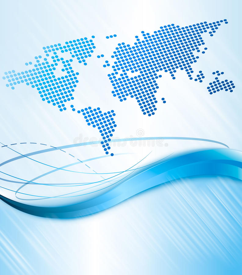 Fundo abstrato do negócio com mapa de mundo. Vect ilustração do vetor