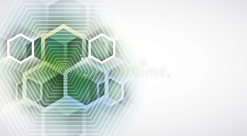 Fundo abstrato do negócio da tecnologia do hexágono do computador do circuito da estrutura ilustração do vetor