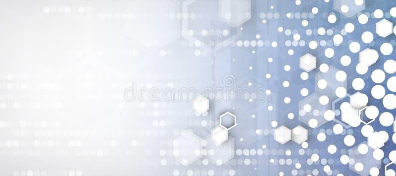 Fundo abstrato do negócio da tecnologia do hexágono do computador do circuito da estrutura ilustração stock