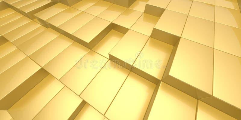 Fundo abstrato do ouro amarelo dos blocos 3d ilustração do vetor