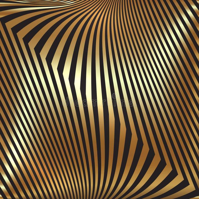 Fundo abstrato do ouro do metal do vetor com ziguezague ilustração royalty free
