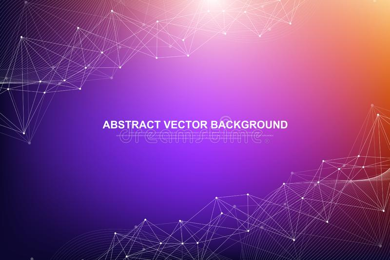Fundo abstrato do plexo com linhas e os pontos conectados Dados grandes do efeito geométrico do plexo com compostos Alinha o plex ilustração do vetor