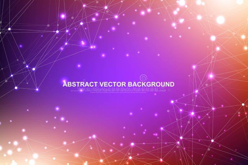 Fundo abstrato do plexo com linhas e os pontos conectados Dados grandes do efeito geom?trico do plexo com compostos Alinha o plex ilustração do vetor