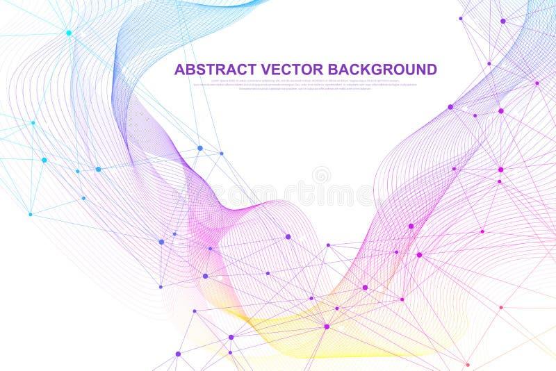 Fundo abstrato do plexo com linhas e os pontos conectados Fluxo da onda Dados grandes do efeito geom?trico do plexo com compostos ilustração do vetor
