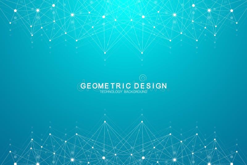 Fundo abstrato do plexo com pontos e linhas de conexão Fluxo da onda Dados grandes do efeito geométrico do plexo com compostos ilustração do vetor