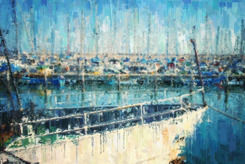 fundo abstrato do porto com barco estilo da pintura a óleo ilustração stock