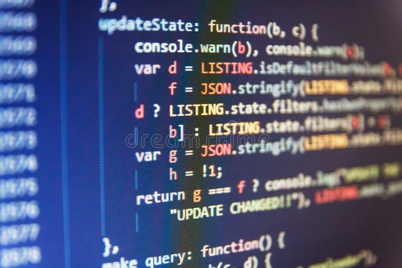 Fundo abstrato do software Edição do código dos elementos binários Fundo abstrato do código fonte fotos de stock