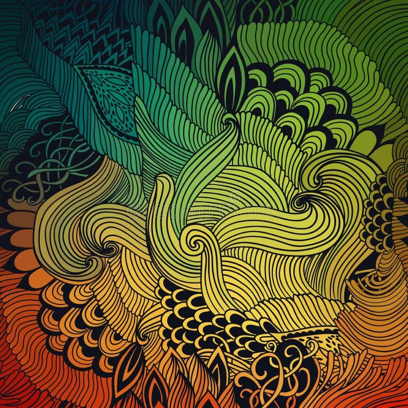 Fundo abstrato do teste padrão com ornamento das ondas Ilustração da tração da mão, zentangle do livro para colorir Motivo do mar ilustração do vetor
