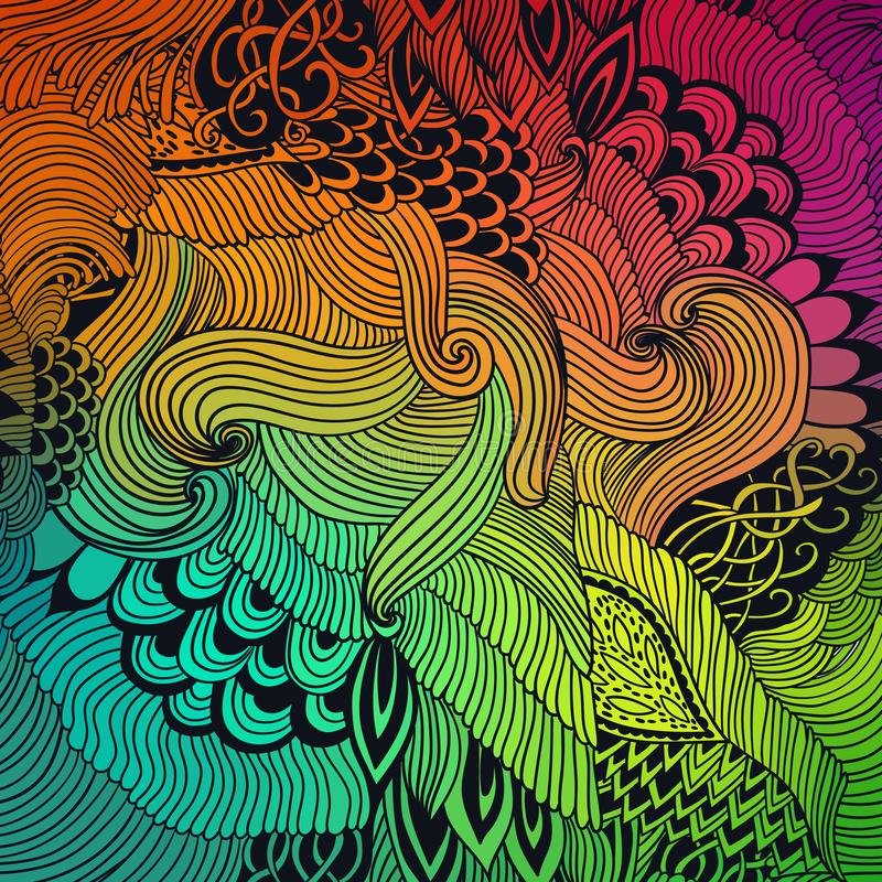 Fundo abstrato do teste padrão com ornamento das ondas Ilustração da tração da mão, zentangle do livro para colorir Motivo do mar ilustração royalty free