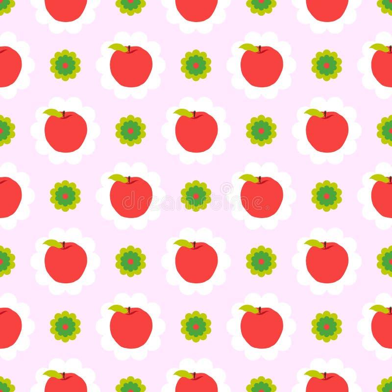 Fundo abstrato do teste padrão da maçã ilustração royalty free