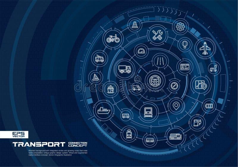 Fundo abstrato do transporte Digitas conectam o sistema com os círculos integrados, linha fina de incandescência ícones ilustração do vetor