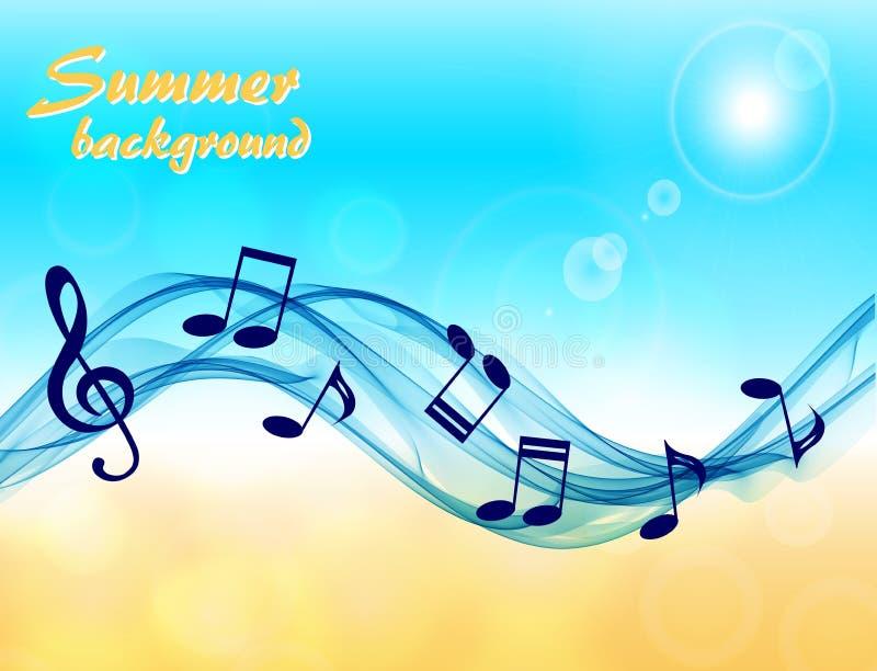 Fundo abstrato do verão com notas da música e uma clave de sol ilustração royalty free