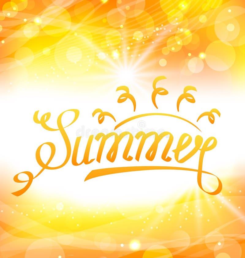 Fundo abstrato do verão com rotulação do texto, Sun e alargamento da lente ilustração stock