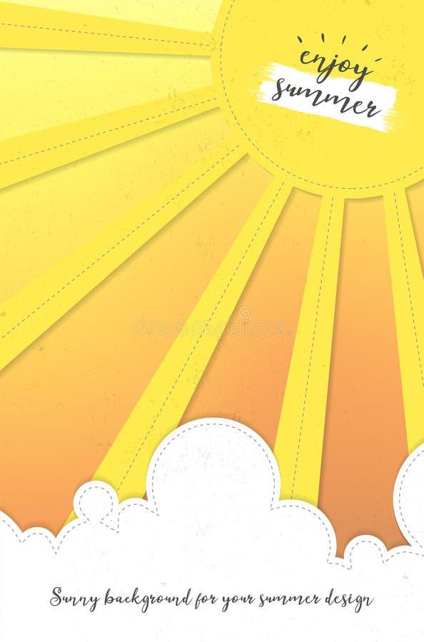 Fundo abstrato do verão com sol, nuvens e espaço da cópia ilustração do vetor