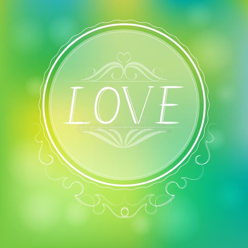Fundo abstrato do verde do amor ilustração stock