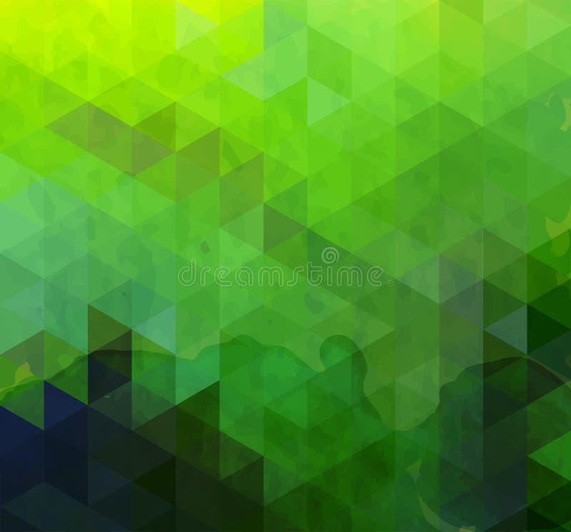 Fundo abstrato do verde do triângulo ilustração stock