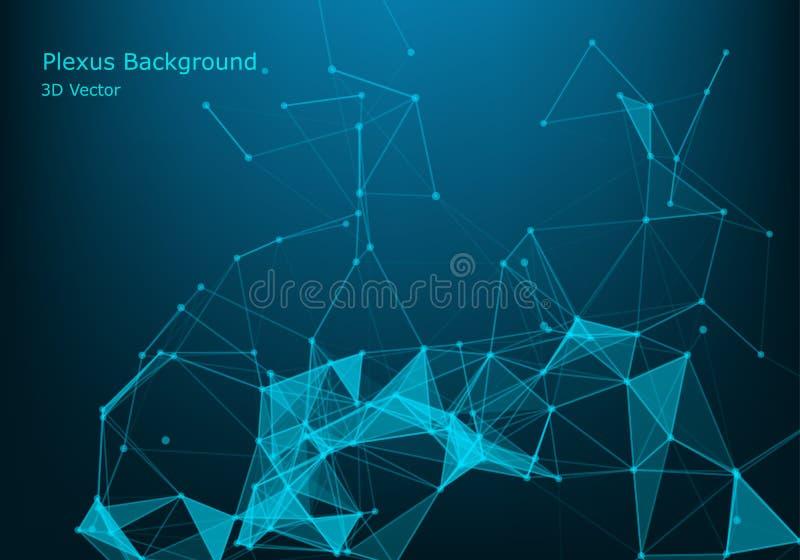 Fundo abstrato do vetor Cartão poligonal futurista do estilo Fundo para apresentações do negócio Estrutura molecular Linhas ilustração stock