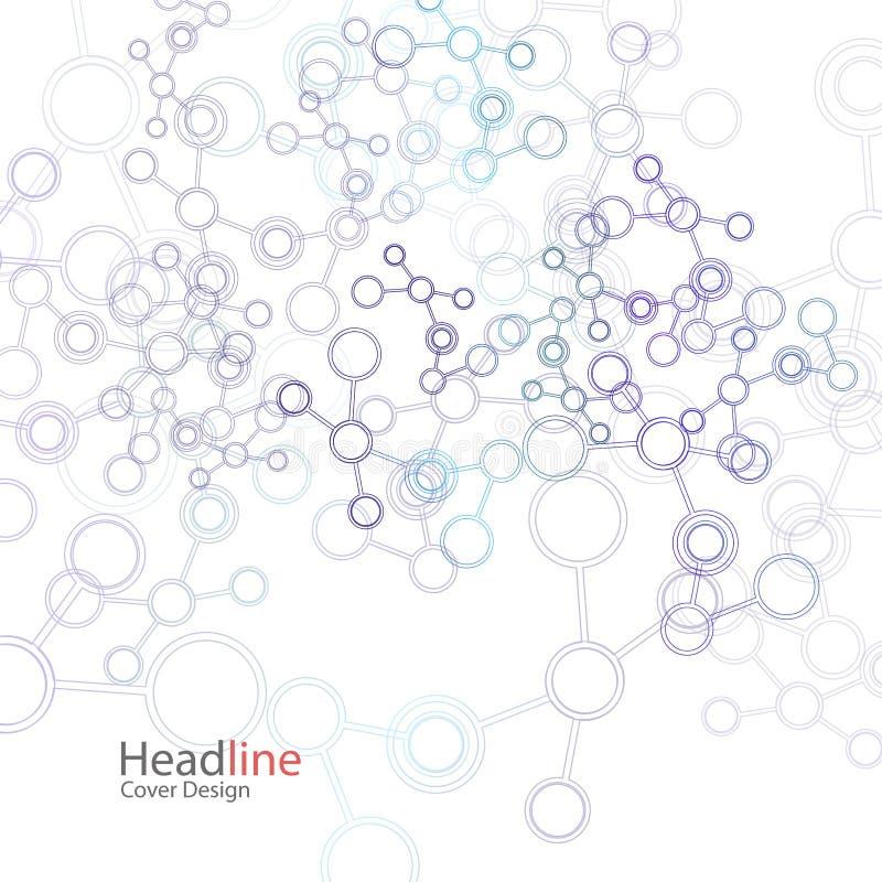 Fundo abstrato do vetor com estrutura da molécula Projeto de conceito da conexão da ciência ilustração stock
