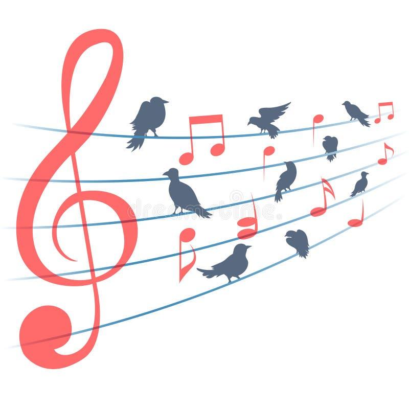 Fundo abstrato do vetor com notas da música e ilustração stock