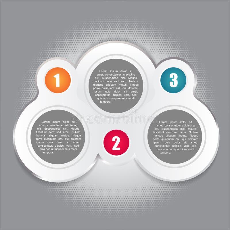 Fundo abstrato do vetor com três etapas numeradas ilustração royalty free