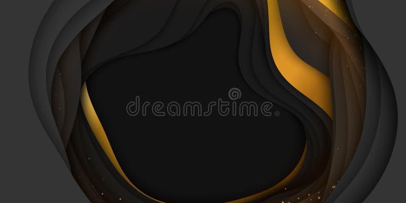 Fundo abstrato do vetor 3D com forma cortada de papel Arte de cinzeladura escura colorida com ouro e sparkles Ofício de papel ilustração royalty free
