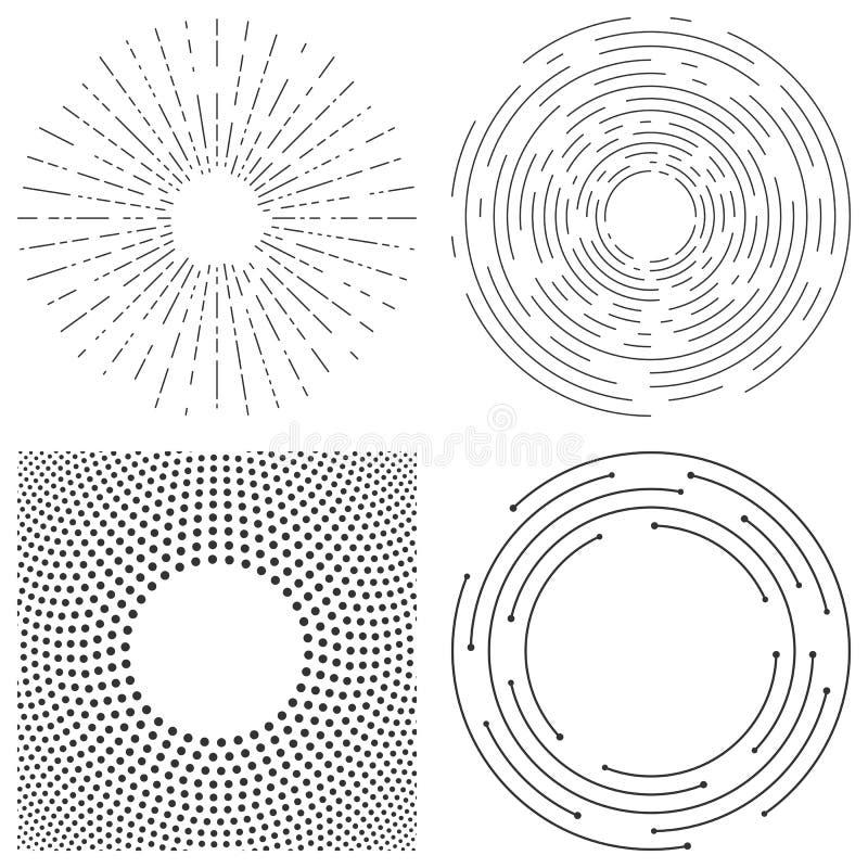 Fundo abstrato do vetor de c?rculos conc?ntricos Crcular alinha o teste padrão gráfico linha tracejada ondinhas ilustração stock