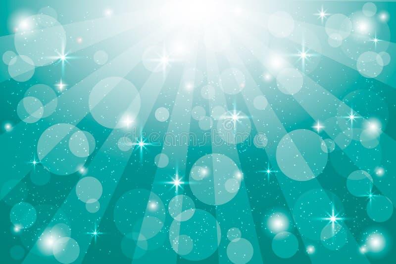 Fundo abstrato do vetor de turquesa com raios da luz solar e efeito do bokeh Contexto borrado abstrato do inclinação ilustração royalty free