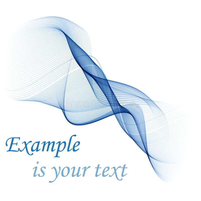 Fundo abstrato do vetor, linhas acenadas transparentes azuis para o folheto, Web site, projeto do inseto Onda azul do fumo ilustração royalty free